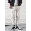 Guys Basic Drawstring Waist Unique Tape Embellished Loose Fit Cargo Pants