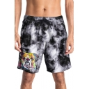 Lovely 3D Cartoon Dog Letter Printed Drawstring Waist Summer Casual Mens Beach Shorts