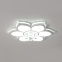 Living Room LED Flush Light Acrylic Modern White Flush Ceiling Light with Clear Crystal Ball