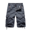 New Trendy Simple Plain Flap Pocket Side Tied-Cuff Mens Casual Military Cargo Shorts