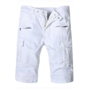 Mens New Stylish Zip Embellished Flap Pocket Side Pleated Detail White Denim Shorts