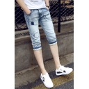 Guys New Stylish Vintage Light Blue Ripped Rolled Cuff Skinny Fit Denim Shorts