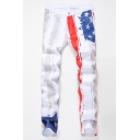 Men's New Fashion American Flag Printed White Stretch Fit Casual Jeans