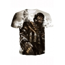 Cool 3D Skull Soldier Pattern Short Sleeve Basic Grey T-Shirt