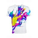 Summer Unique Cool Colorful Ink Painting Print Basic Short Sleeve White T-Shirt