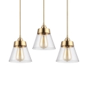 Clear Glass Tapered Hanging Ceiling Lamp 1 Light Modernism Pendant Light in Brass, 6