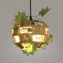 Single Light Globe Pendant Light Rustic Metal and Rope Hanging Light in Beige