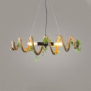 Metal and Rope Hanging Light with Open Bulb and Leaf Decoration Rustic Pendant Lamp in Beige