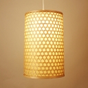 Hand Knitted Cylinder Pendant Light Rustic 1 Bulb Hanging Lamp in Beige for Cafe, 16