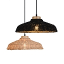 Beige/Black Barn Shade Drop Light in Simple Style 1 Light Rattan Hanging Lamp for Dining Room