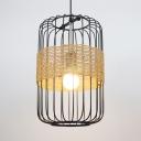 Black Cylinder Hanging Light Contemporary Metal Cage 1 Light Suspension Lamp for Cafe Restaurant