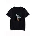Aesthetics Stylish Figure Birds Printed Round Neck Short Sleeve Unisex Loose T-Shirt