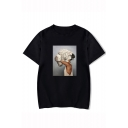 Aesthetics Vintage Floral Figure Print Round Neck Short Sleeve Unisex Relaxed Casual T-Shirt