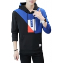 Cool Letter RVER Printed Colorblock Long Sleeve Mens Casual Pullover Hoodie