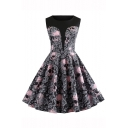 Halloween Vintage Skull Floral Printed Round Neck Sleeveless Midi Fit and Flare Dress