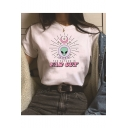 New Stylish Alien Letter FAR OUT Printed Round Neck Short Sleeve Cotton Loose T-Shirt