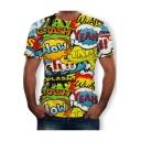 Mens Fashion Allover Letter Printed Round Neck Short Sleeve Basic T-Shirt