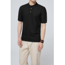 Men's Chinese Style Retro Button Front Short Sleeve Plain Linen T-Shirt