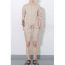 Mens Summer Simple Plain Three-Quarter Sleeve Drawstring Waist Button Down Slim Fit Playsuits Rompers