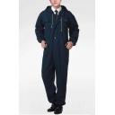 Mens Dark Blue Solid Color Hooded Long Sleeve Dust Proof Denim Mechanic Coveralls