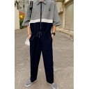 Guys Street Fashion Letter BACK TO THE STREET Half-Sleeve Lapel Collar Colorblock Drawstring Waist Jumpsuits Coveralls