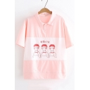 Cartoon Boys Printed Color Block Lapel Collar Short Sleeve Casual T-Shirt for Girls