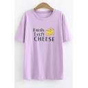 Summer Letter FRESH TASTY CHEESE Printed Round Neck Short Sleeve Casual Loose T-Shirt