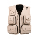 Fashion Outdoor Fishing Vest Multi-Pocket Zip Up Photographer Jacket Vest