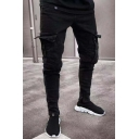 Men's New Stylish Pleated Flap-Pocket Side Stretch Skinny Fit Black Cargo Jeans