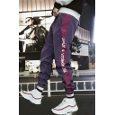 Mens Hip Hop Style Fashion Letter Side Tape Patched Drawstring-Waist Loose Casual Track Pants