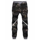 Men's New Stylish Classic Camo Pattern Drawstring Waist Casual Sport Pants