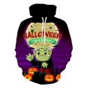 Halloween Trick Or Treat Funny 3D Comic Zombie Printed Relaxed Fit Purple Hoodie