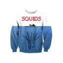 Mens Colorblock 3D Figure Letter SQUIDS Printed Long Sleeve Casual Sweatshirt
