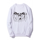 New Trendy Eyes Finger Printed Round Neck Long Sleeve Casual Pullover Sweatshirt