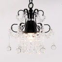 Dining Room Adjustable Chandelier Clear Crystal Modern Black/Gold Hanging Light Fixtures