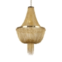 Metal Hanging Hanging Chandelier 8 Lights Contemporary Pendant Lighting in Gold