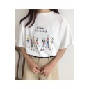 Cartoon Figure Letter ROLL MODELS Printed Short Sleeve Round Neck Casual T-Shirt