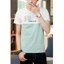Simple Letter SUPER HERO Fashion Two-Tone Short Sleeve T-Shirt for Guys