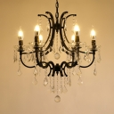 Adjustable Black Candle Chandelier 6/8 Lights Traditional Metal Light Fixture with Clear Crystal Decoration and12