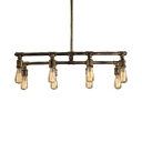Industrial Rectangle Island Pendant Light 8 Lights Metal Pendant Lights with 23.5