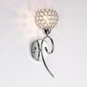 1-Light Globe Wall Mounted Lighting Modern Style Clear Crystal Sconce Light in Chrome