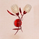 Red Floral Wall Light Fixture 2-Light Contemporary Style Clear Crystal Sconce Lighting for House