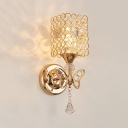 Rectangle Sconce Lighting for Bedroom Single Light Vintage Style Clear Crystal Wall Light Fixture