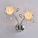 Bedroom Floral Sconce Lighting Glass Contemporary Chrome Wall Mounted Light with Clear Crystal