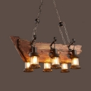Antique Bronze Island Pendants with Drum 6 Lights Glass and Wood Ceiling Light with 19.5