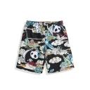 Mens Fashion Cartoon Cloud Panda Printed Drawstring Waist Summer Beach Shorts Black Swim Trunks
