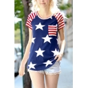 New Trendy Pentagonal Star Stripes Pattern Round Neck Short Sleeve T-Shirt