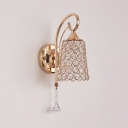 Tapered Hallway Wall Mounted Light Fixture Clear Crystal 1-Light Vintage Style Sconce Lighting