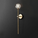 Modern Clear Crystal Wall Mounted Lighting with Floral Shade One Light Sconce Light in Gold/Chrome/Black