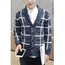 New Popular Stripe Check Printed V-Neck Button Down Fitted Marled Cardigan for Guys